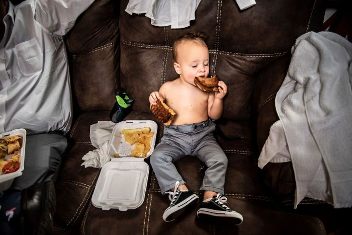 This Baby Becoming One With His Grilled Cheese Sandwich