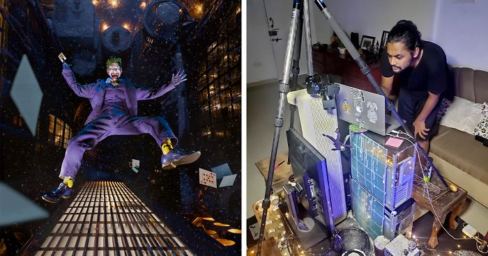 This Photo Of The Joker Free-Falling Was Made Using An Action Figure And Things Around The House