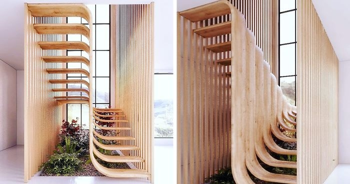 This Minimalistic Staircase Resembles A Strand Of Dna Inside Of A | Stairs Design Inside Home | Traditional | Iron | Amazing | Outside | Short