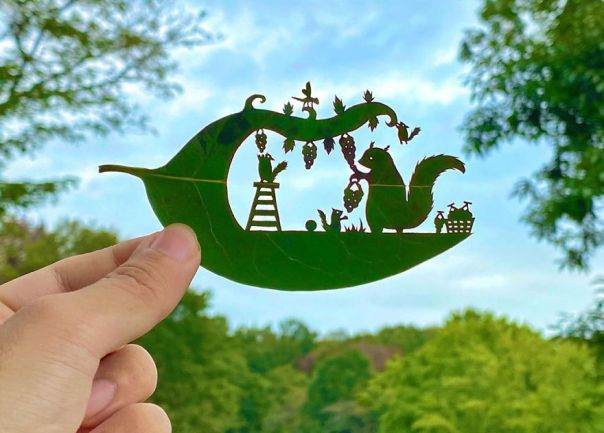 This Japanese Artist Is Going Viral With His Amazing Works Of Art Using Tree Leaves (127 Pics)