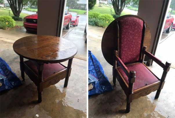 I Pulled Up To A Friends House And Her Neighbor Had This Thrown Out By The Road In The Rain. I Had To Swoop In And Save The Day With This Unique Unicorn Of A Flippy Chair Table