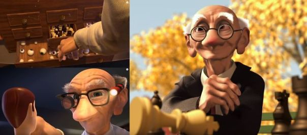 "Toy Story 2 - The Toy Cleaner Briefly Opens A Drawer Full Of Chess Pieces, Referencing An Earlier Pixar Short Film ""Geri's Game"" Starring The Same Character"