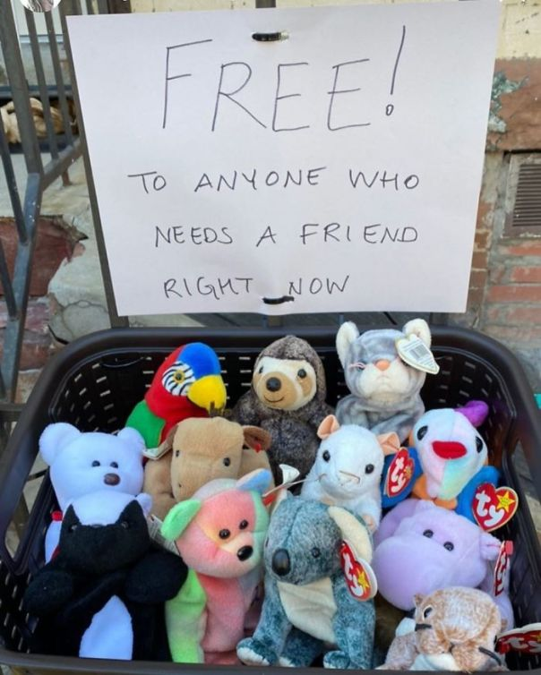 Beanie Babies Used To Have Real Value! They Still Might... But As The Sign Says The Real Value Is As A Friend. On Cooper Street Between Knickerbocker And Irving.