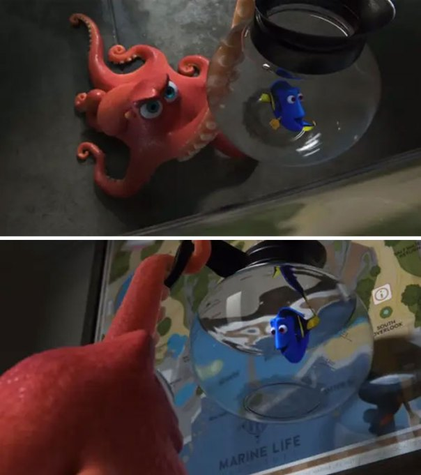 The Bottom Of The Coffee Pot That Dory Hops Into Is Stained From Use