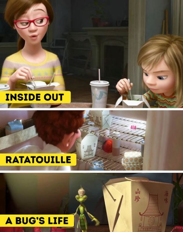 Inside Out. In Some Pixar Animations, You Can See The Same Noodle Box. This Is Just More Proof For The Fan Theory That All The Animations Are In The Same Universe