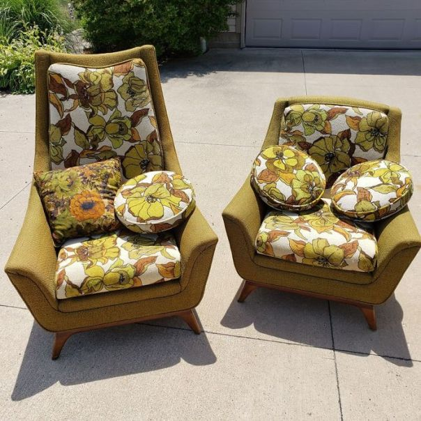 Found This Matching Pair On Marketplace Yesterday! The Previous Owner Was Ready To Throw Them Out, Thinking No One Would Want Such Ugly Chairs. I Think They're Wonderful. Made In East Palestine, Ohio In The 1960s