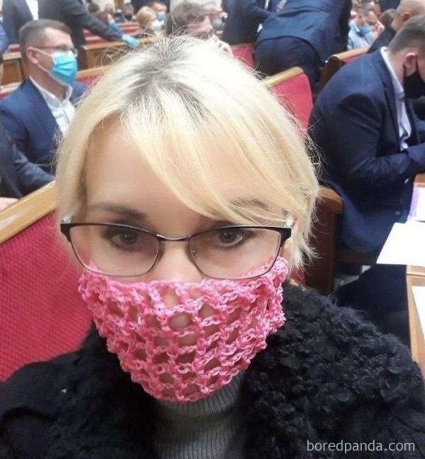 "Ukrainian Deputy Wearing A ""Homemade"" Face Mask"