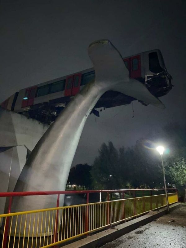 Train After Failing To Brake Finds Itself On Top Of A Giant Whale Statue!
