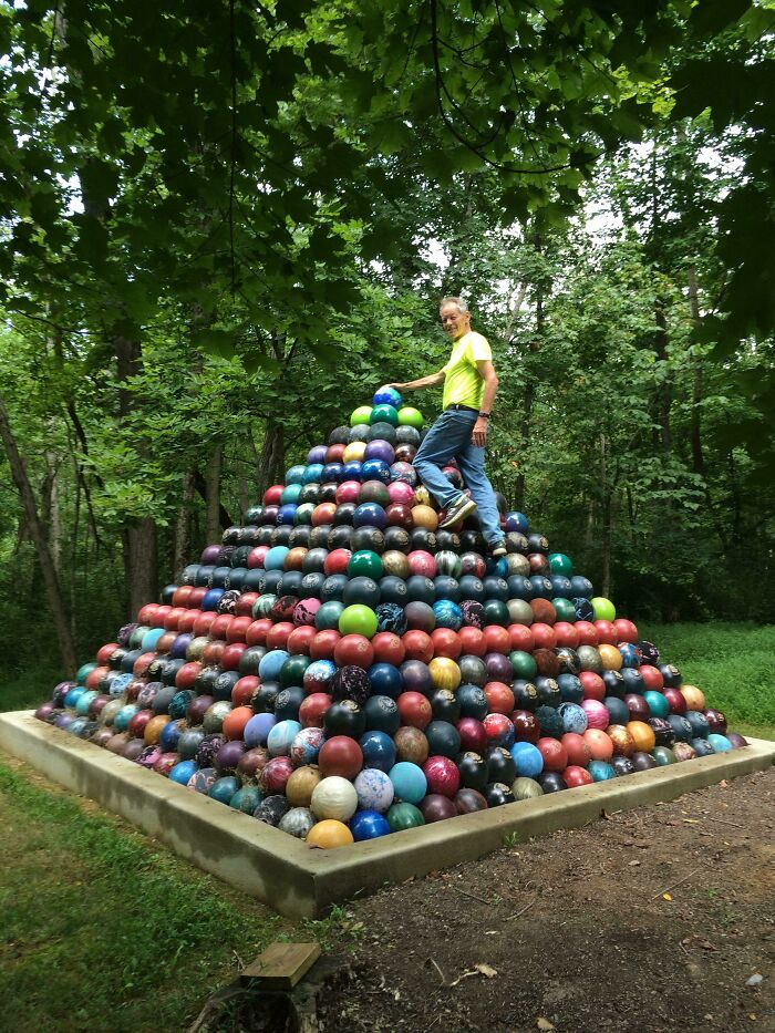 Over The Past 15 Years My Dad Collected 1,785 Bowling Balls And Built A Giant Bowling Ball Pyramid