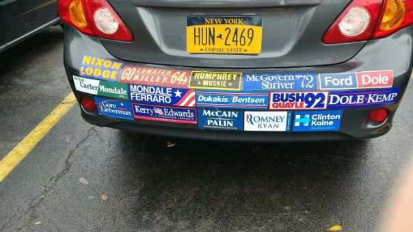 Someone Had All The Failed Presidential Candidates Bumper Stickers On Their Car