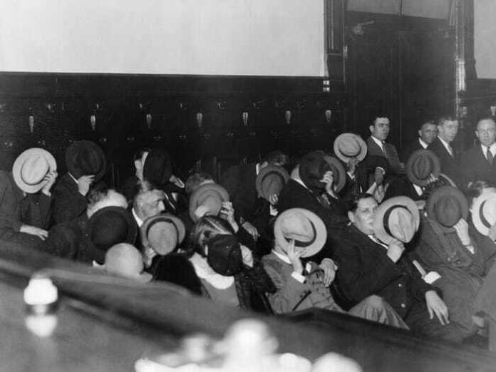 Mobsters Hide Their Faces At Al Capone's Trial 1931