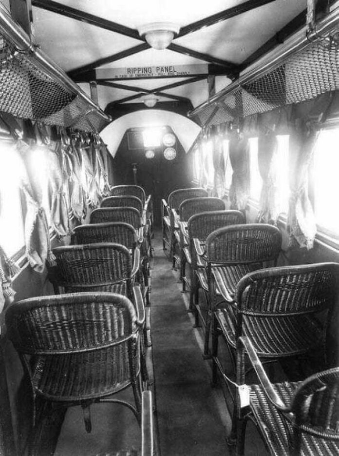 Inside Of An Airplane In 1930