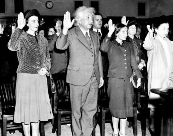 Albert Einstein, His Secretary Helen (Left), And Daughter Margaret (Right) Becoming U.S. Citizens To Avoid Returning To Nazi Germany, 1940