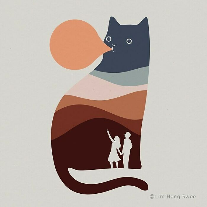 I Created 100 Illustrations To Prove That This Is The Land Of Cats. (40 Pics)