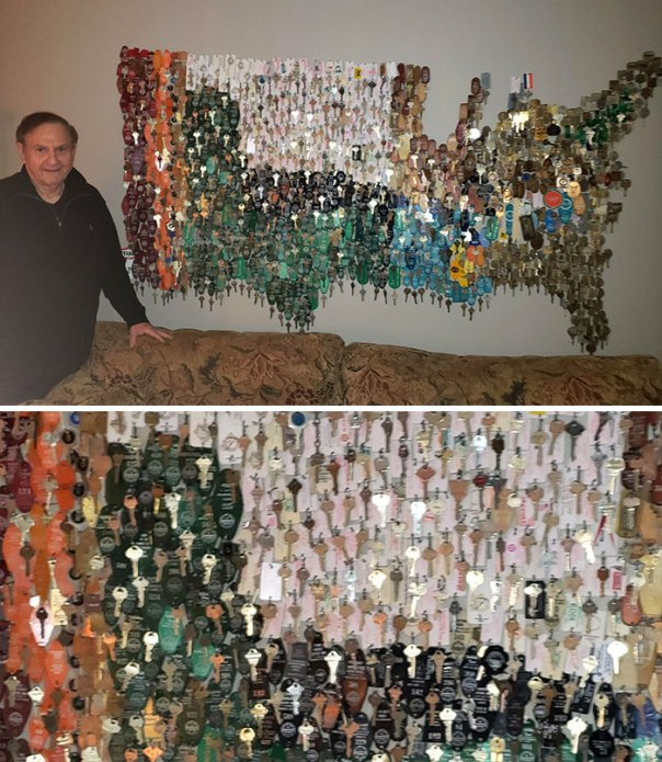 My Grandfather Used All Of His Hotel/Motel Keys He Received From His Job As A Travelling Salesman And Made Them Into A Map Of The US