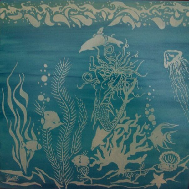 Underwater Scene With Mermaid Etched Into Tile.