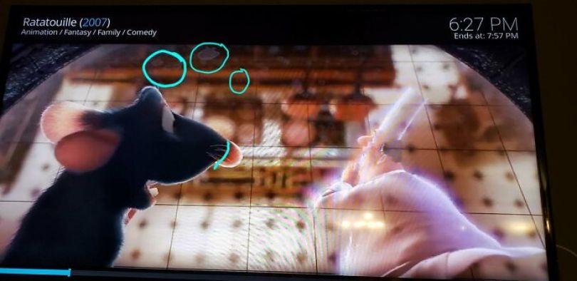 Pixar pensa em tudo. Manchas de água da chuva na janela quando Remy está espionando a cozinha. Achei que vocês pudessem apreciar isso