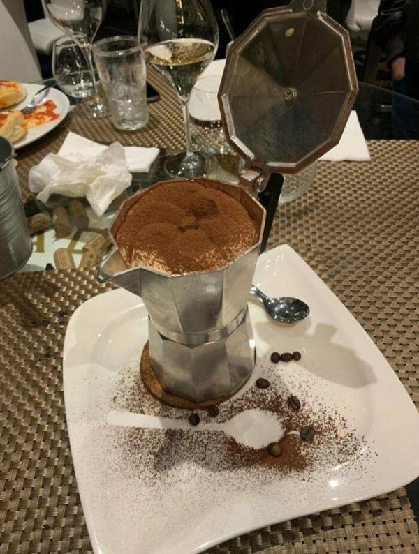Tiramisu Served In A Coffee Maker