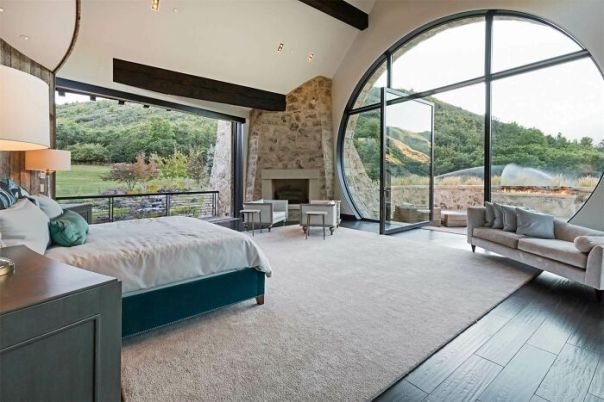 Extraordinary Bedroom Opens To The Wasatch Mountains. Estate On The Market For $14.9million