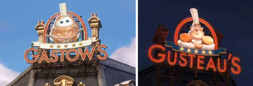 """Em Carros 2 (2011), Em Paris você pode ver um restaurante chamado """"Gastow's"""". Esta é uma referência direta ao restaurante """"Gusteau's"""" de Ratatouille (2007)"""