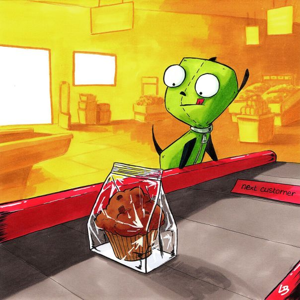 Gir (Invader Zim) And A Muffin