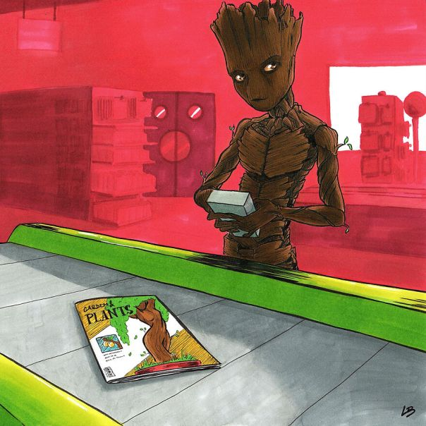 Teenage Groot And A Magazine About Beautiful Plants