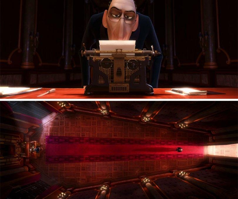 A máquina de escrever de Anton Ego lembra uma caveira e seu escritório um caixão