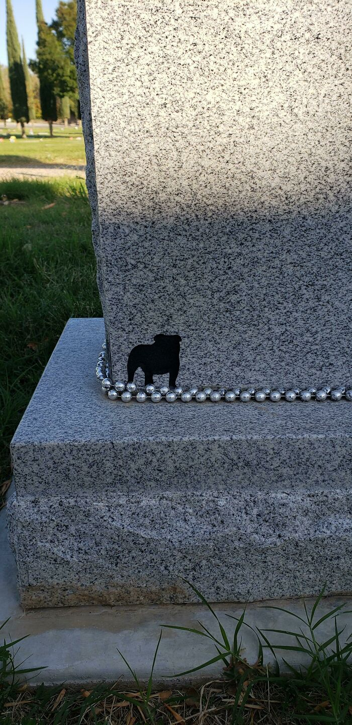 My Friend Who Passed Away Was Always Seen With His Beloved English Bulldog, I Noticed This When I Walked To The Backside Of His Tombstone