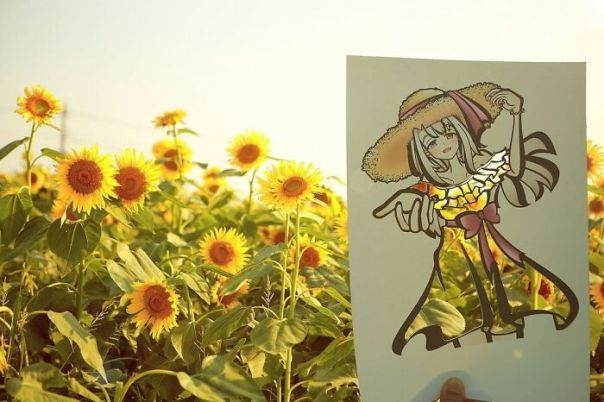 Japanese Artist Colors His Drawings With Real Landscapes