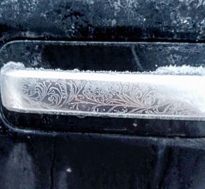 Truck Door Handle On A Frosty Morning