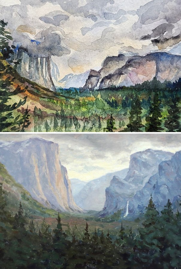 Two Paintings Based On The Same Photo, But With 2 Years Of Practice In Between
