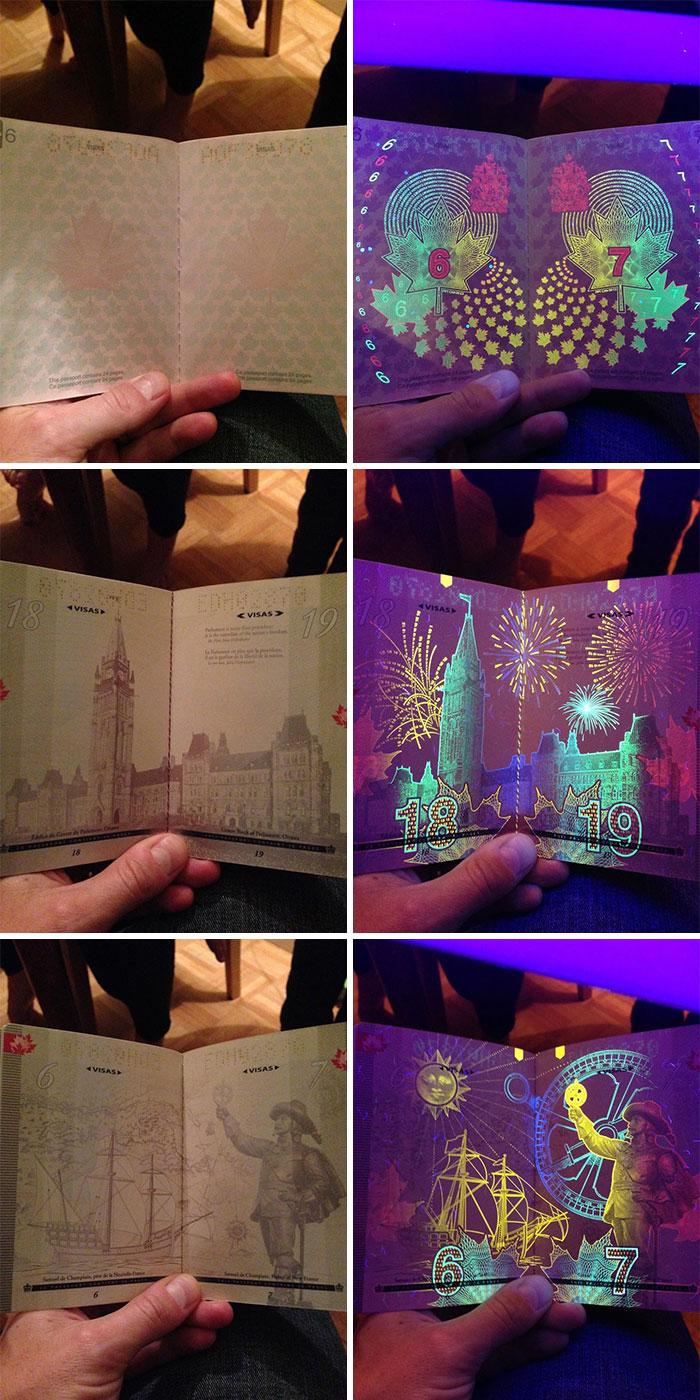 Canadian Passport When Held Under UV Light