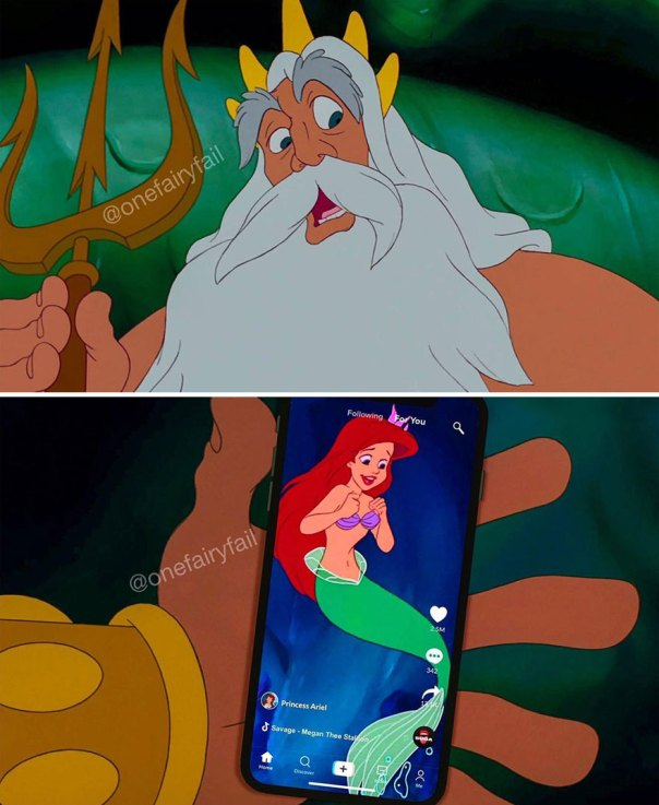 """Artist Shows What It Would Be Like If Disney Characters Were """"Glued"""" To Their Cell Phones"""