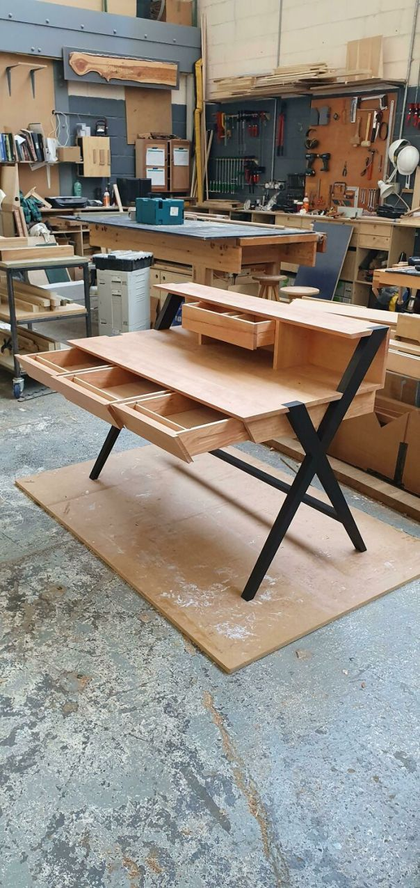 I Just Turned 20 And Have Been Doing Woodwork For About A Year Now. Just Finished This Cherry Desk With Blackened Legs