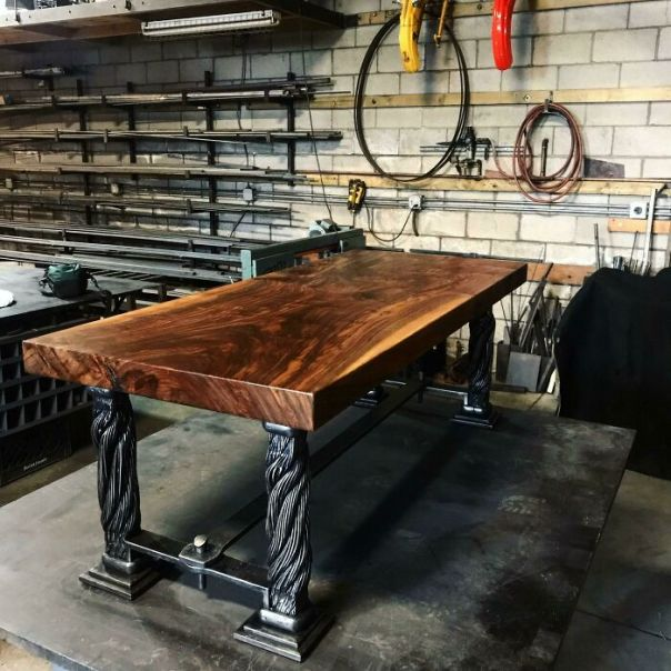 Here Is A Prototype Table We Are Making Using The Original Golden Gate Bridge Suspender Ropes And Claro-Walnut Top. Both Are Over 80 Years Old!