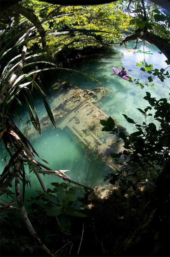 Japanese WWII Warplane Lies Wrecked In Shallow Water Off Guam