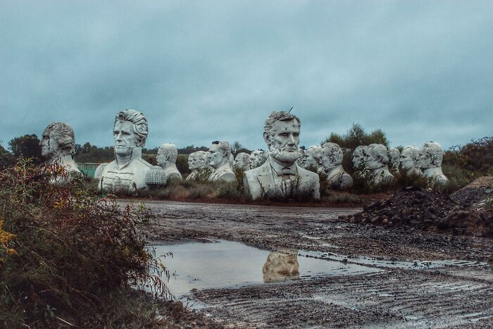 Abandoned Presidents Heads In A Rural Virginia Field