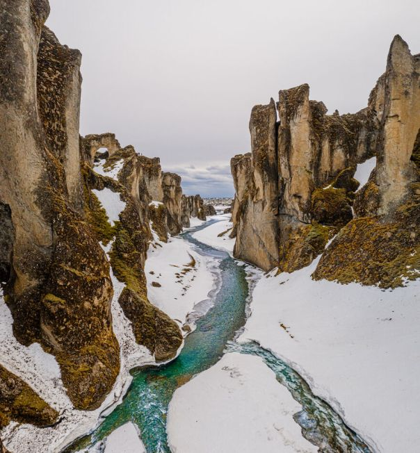 Fjaðrárgljúfur Canyon In Winter
