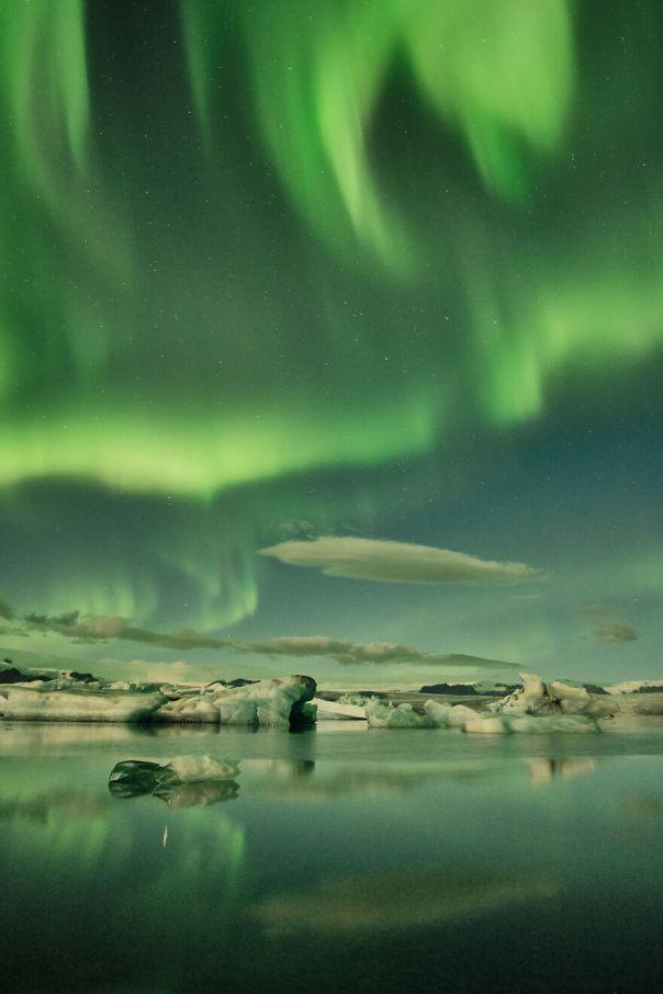 Aurora Borealis Over Jokusarlon