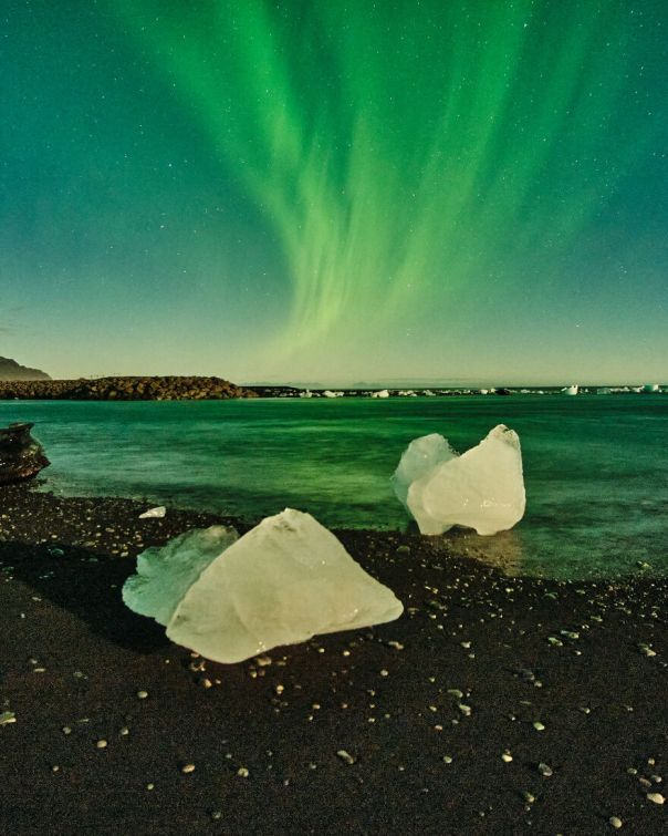 Aurora Borealis Over Diamond Beach