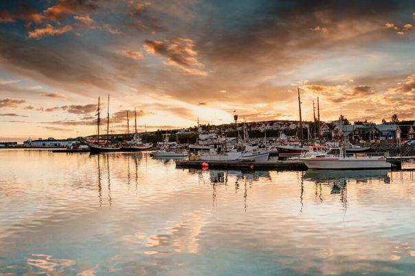 Sunset At Husavik Harbor