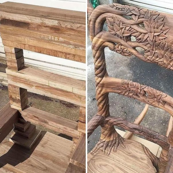 Wooden Chair, Before And After