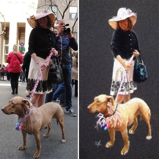 Beautiful Lady With Her Dog In NYC