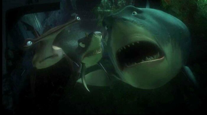 "In Finding Nemo, Bruce The Shark Starts Crying When Marlin Starts Talking About Nemo, Saying ""I Never Knew My Father"". Male Sharks Mate With The Female Then Leave, So Baby Sharks Never Actually Meet Their Father"