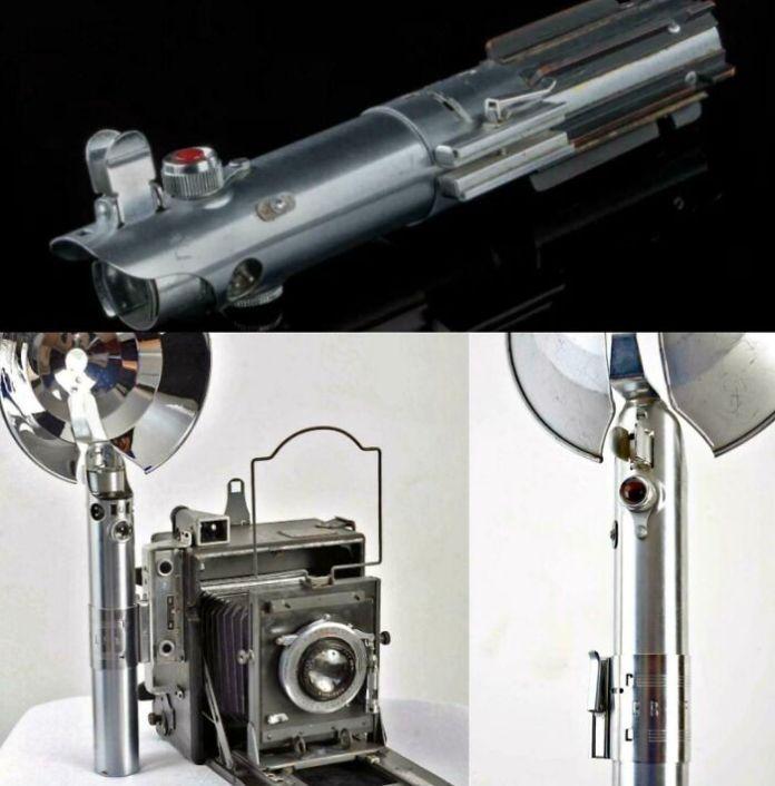 Световой меч Люка Скайуокера из франшизы «Звездные войны» - один из самых знаковых реквизитов из фильмов всех времен - это ручка от старинной камеры (ручка для вспышки Graflex с 3 ячейками)