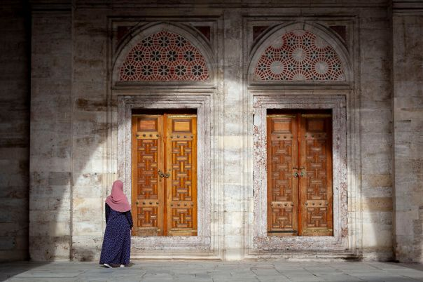 Photo Taken At The Courtyard Of The Suleymaniye Mosque. I Like The Shadow Of The Arch As A Frame And The Woman Walking Towards The Doors Create A Mystery