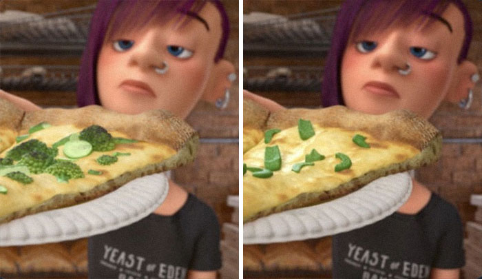 In Inside Out, The Pizza Toppings Were Changed From Broccolis To Bell Peppers In Japan, Since Kids In Japan Don't Like Bell Peppers. Pixar Localised The Joke