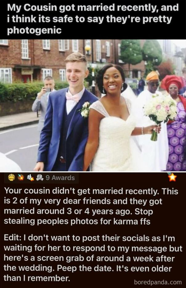 Faking A Wedding Pic For Karma