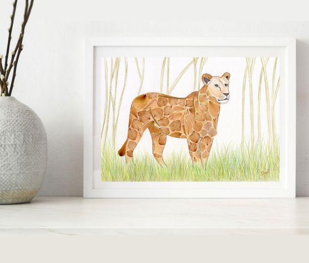African Lioness Made From Pressed Hydrangea