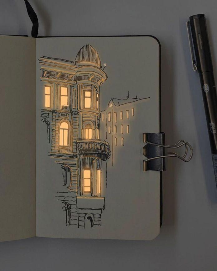Художник создает невероятно освещенные архитектурные рисунки (12 фото)